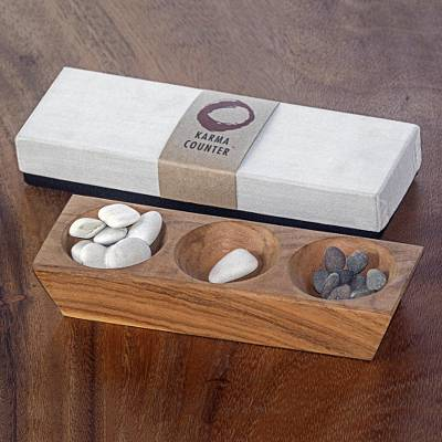 Wood karma counter, 'My Day in Natural Brown' - Handmade Suar Wood Karma Counter from Indonesia