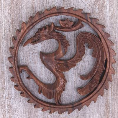 Hand carved wood wall relief panel with heron and om design