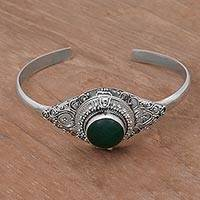 Quartz cuff locket bracelet, 'Mythical Green Stone' - Green Quartz and Sterling Silver Locket Bracelet from Bali