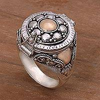 Gold accented sterling silver locket ring, 'Shining Secrets'