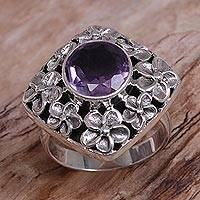 Amethyst floral cocktail ring, 'Jepun Shrine' - Hand Made Amethyst and Sterling Silver Floral Cocktail Ring
