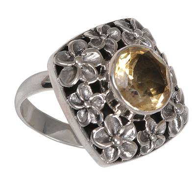 Citrine cocktail ring, 'Jepun Shrine' - Hand Made Balinese Sterling Silver and Citrine Cocktail Ring