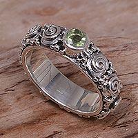 Peridot single stone ring, 'Swirls of Joy in Green' - Peridot and Sterling Silver Single Stone Ring from Indonesia
