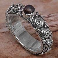 Cultured pearl single stone ring, 'Swirls of Joy in Brown' - Cultured Pearl Single Stone Ring from Indonesia