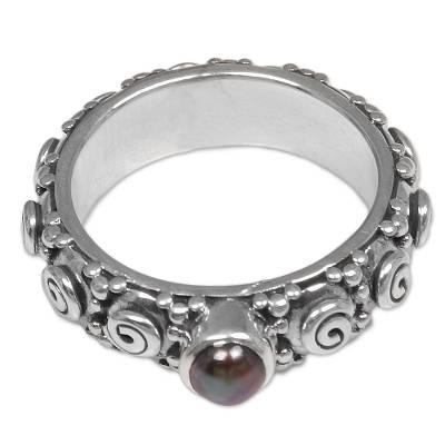 Cultured pearl single stone ring, 'Swirls of Joy in Brown' - Cultured Pearl Single Stone Ring from Indonesia