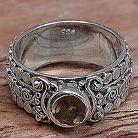 Citrine single-stone ring, 'Swirling Serenity' - Citrine and Sterling Silver Single-Stone Ring from Indonesia