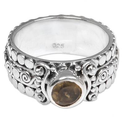 Citrine and Sterling Silver Single-Stone Ring from Indonesia