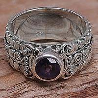 Amethyst single-stone ring, 'Swirling Serenity'