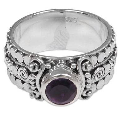 Amethyst single-stone ring, 'Swirling Serenity' - Amethyst Sterling Silver Single-Stone Ring from Indonesia