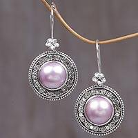 Cultured mabe pearl dangle earrings, 'Floral Orbs in Pink'