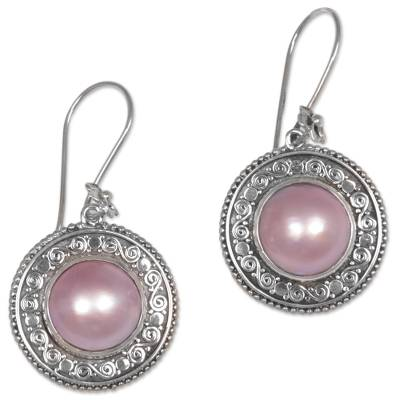 Cultured mabe pearl dangle earrings, 'Floral Orbs in Pink' - Pink Cultured Mabe Pearl Dangle Earrings from Indonesia