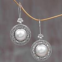 Featured review for Cultured mabe pearl dangle earrings, Floral Orbs