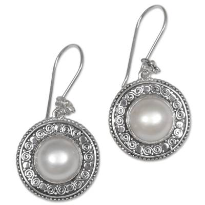 Cultured mabe pearl dangle earrings, 'Floral Orbs' - Cultured Mabe Pearl Floral Dangle Earrings from Indonesia