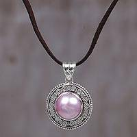 Cultured mabe pearl pendant necklace, 'Pink Orb' - Pink Cultured Mabe Pearl Pendant Necklace from Indonesia