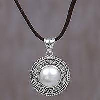 Cultured mabe pearl pendant necklace, 'White Orb'