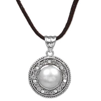 Cultured mabe pearl pendant necklace, 'White Orb' - Cultured Mabe Pearl and Leather Cord Pendant Necklace