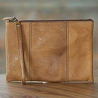 Leather wristlet, 'Ginger Tranquility' - Hand Made Beige Leather Wristlet from Indonesia