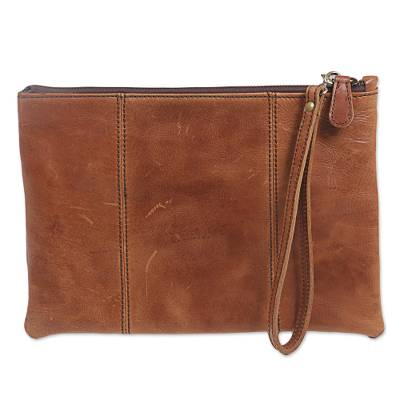 Leather wristlet, 'Light Brown Tranquility' - Hand Made Brown Leather Wristlet from Indonesia