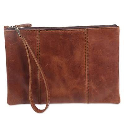 Brown Leather Wristlet with Zipper from Indonesia