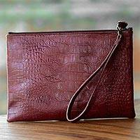 Leather wristlet, 'Russet Crocodile' - Hand Crafted Russet Brown Leather Clutch Wristlet Handbag
