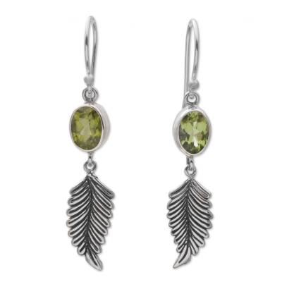 Balinese 925 Sterling Silver Feather Earrings with Peridot