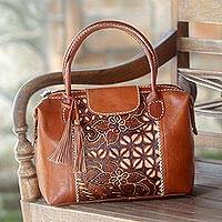 Cotton batik and leather handbag, 'Ginger Kawung  Flower' - Floral Batik Leather Handbag from Indonesia