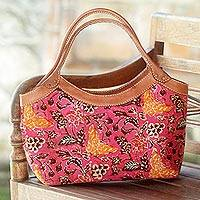 Cotton batik and leather accent handbag, 'Butterfly Blush' - Pink Cotton Batik Handle Handbag with Butterfly Design