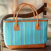 Cotton and leather accent tote handbag, 'Cheerful Lines' - Hand Woven Blue Striped Handle Handbag from Indonesia