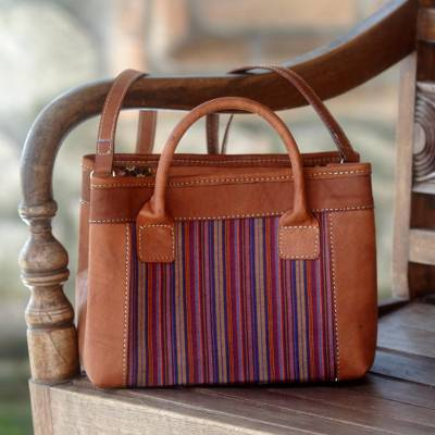 Cotton and leather shoulder bag, 'Blossoming Stripes' - Hand Woven Cotton and Leather Trim Shoulder Bag Indonesia