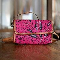Cotton and leather accent batik shoulder bag, 'Pink Lady' - Pink Cotton Batik Shoulder Bag from Indonesia