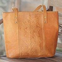Leather tote handbag, 'Petaled Temple' - Hand Made Leather Floral Tote Handbag from Indonesia
