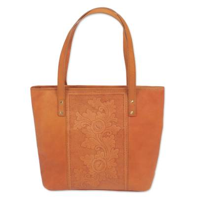 Novica Leather tote handbag, Petaled Temple