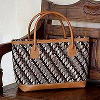 Cotton and leather accent batik tote handbag, 'Parang Rogue' - Cotton Batik Tote Handbag with Leather Accents
