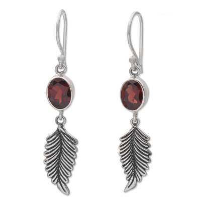 Balinese 925 Sterling Silver Feather Earrings with Garnet