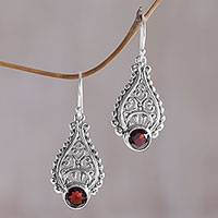 Garnet dangle earrings, 'Princess Tears in Red' - Hand Crafted Garnet and Sterling Silver Earrings from Bali
