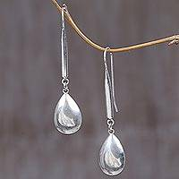 Sterling silver dangle earrings, 'Silver Tears' - Polished Sterling Silver Dangle Earrings from Indonesia