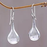 Sterling silver dangle earrings, 'Silver Words' - Sterling Silver Dangle Earrings from Indonesia