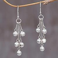 Sterling silver dangle earrings, 'Silver Time' - Sterling Silver Dangle Earrings from Indonesia