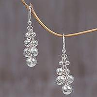 Sterling silver cluster earrings, 'Silver Grapes' - Sterling Silver Cluster Earrings from Indonesia