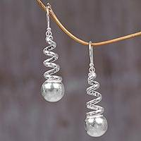 Sterling silver dangle earrings, 'Spinning Silver' - Sterling Silver Dangle Earrings from Indonesia