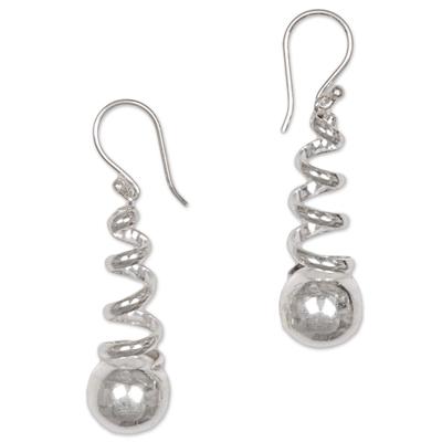 Sterling silver dangle earrings, 'Spinning Silver' - Sterling Silver Dangle Earrings from Indonesia