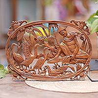 Wood relief panel, 'Feeding Ducks' - Hand Carved Suar Wood Wall Panel Farmer Traditional Bali