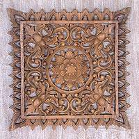 Wood relief panel, 'Lotus Altar' - Hand-Carved Suar Wood Lotus Flower Relief Panel from Bali