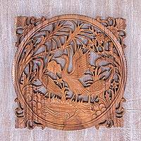 Wood wall relief panel, 'Alpha Duck' - Hand Carved Duck Motif Wood Wall Relief from Indonesia