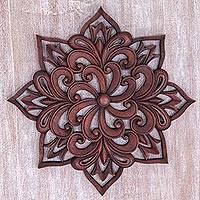 Wood wall relief, 'Balinese Spiral Flower' - Hand Carved Floral Wood Wall Relief from Indonesia