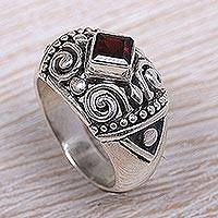 Garnet cocktail ring, 'Heart of Red' - Balinese Classic Sterling Silver and Garnet Cocktail Ring