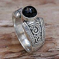 Onyx single stone ring, 'Amnesty in Black' - Sterling Silver and Black Onyx Single Stone Ring from Bali