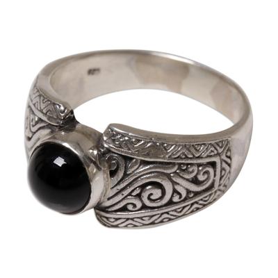 Onyx single stone ring, 'Amnesty in Black' - Sterling Silver and Black Onyx Single Stone Ring from Bali