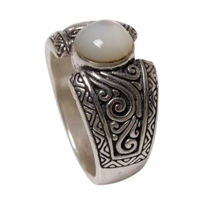 Sterling Silver and Moonstone Single Stone Ring Indonesia