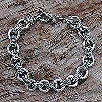 Men's sterling silver link bracelet, 'Dragon Legacy'
